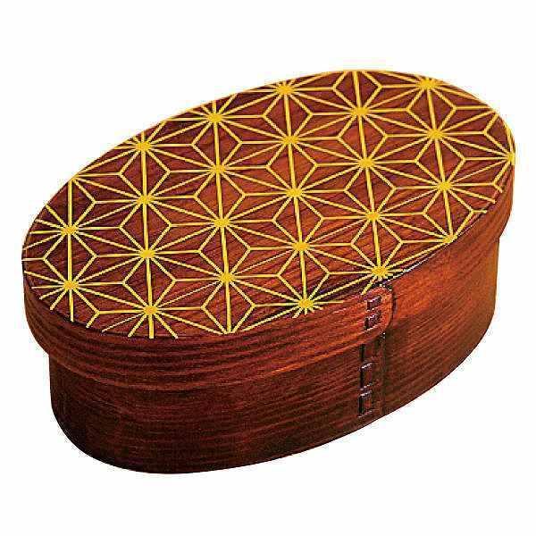 お弁当箱 曲げわっぱ 400ml 1段 小判 麻の葉 漆塗 ( 木製 ランチボックス 弁当箱 一段 わっぱ 和風 )|colorfulbox|18