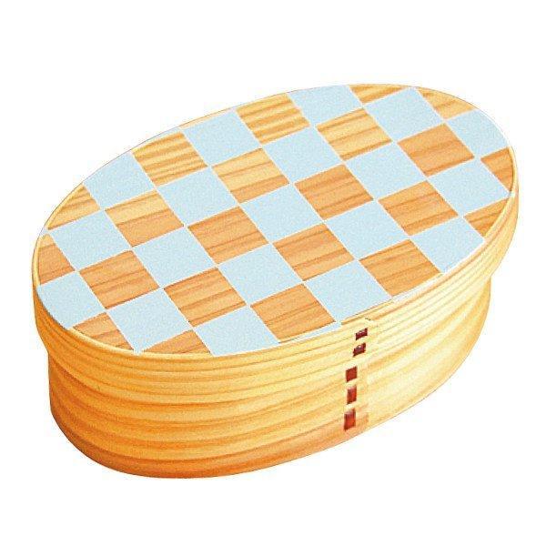 お弁当箱 曲げわっぱ 400ml 1段 小判 市松 ウレタン塗装 ( 木製 ランチボックス 弁当箱 一段 わっぱ 和風 ) colorfulbox 19