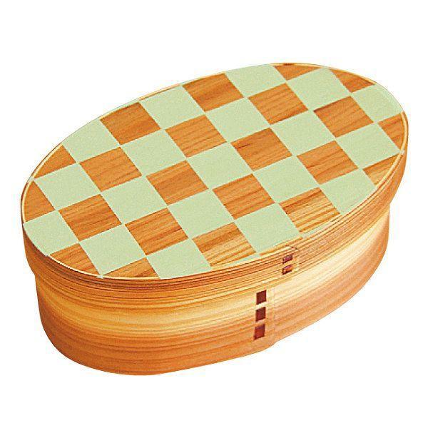 お弁当箱 曲げわっぱ 400ml 1段 小判 市松 ウレタン塗装 ( 木製 ランチボックス 弁当箱 一段 わっぱ 和風 ) colorfulbox 21