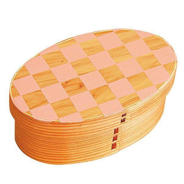 お弁当箱 曲げわっぱ 400ml 1段 小判 市松 ウレタン塗装 ( 木製 ランチボックス 弁当箱 一段 わっぱ 和風 ) colorfulbox 20