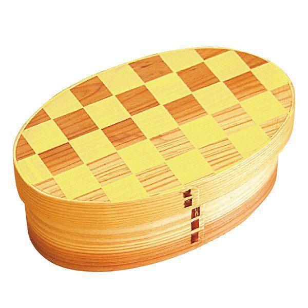 お弁当箱 曲げわっぱ 400ml 1段 小判 市松 ウレタン塗装 ( 木製 ランチボックス 弁当箱 一段 わっぱ 和風 ) colorfulbox 18