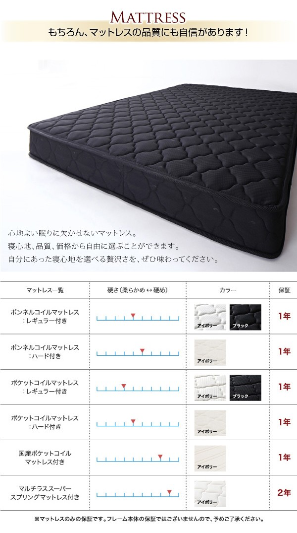 ダブルベッド ベッド ダブル マットレス付き 収納付きベッド 下収納 ベッド 画像9