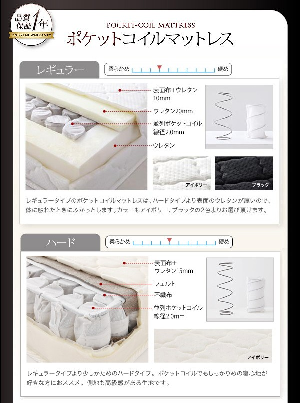 ダブルベッド ベッド ダブル 収納付きベッド 収納ベッド マットレス付き 下収納 ベッド 画像13