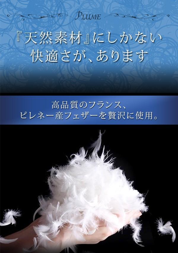 布団 セット 送料無料 フランス産フェザー100%羽根布団8点セット ベッドタイプ Plume プルーム 画像3