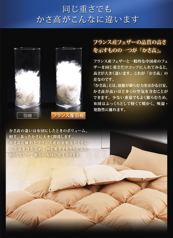 布団 セット 送料無料 フランス産フェザー100%羽根布団8点セット ベッドタイプ Plume プルーム 画像5