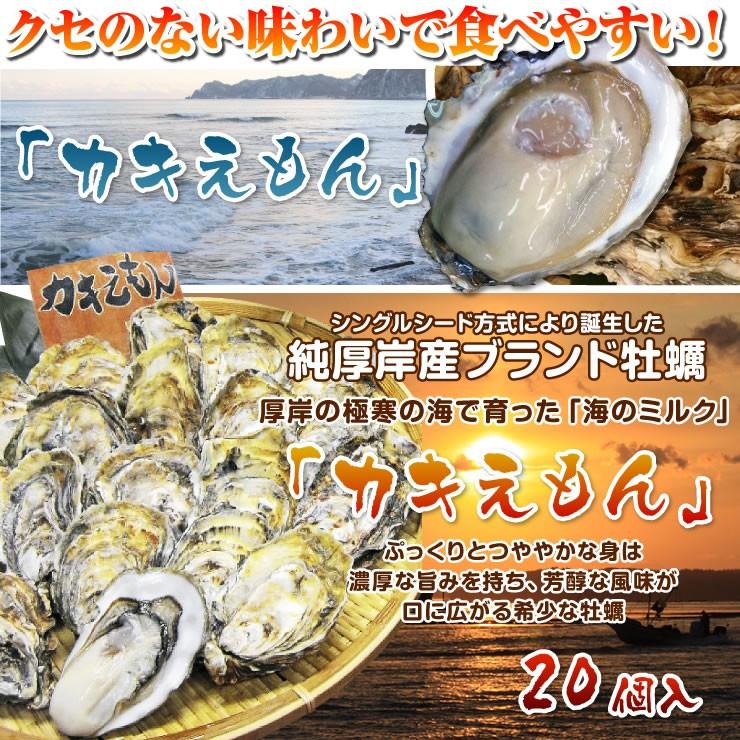 20個入シングルシード方式により誕生した純厚岸産ブランド牡蠣ぷっくりとつややかな身は濃厚な旨みを持ち、芳醇な風味が口に広がる希少な牡蠣厚岸の極寒の海で育った「海のミルク」「カキえもん」クセのない味わいで食べやすい!「カキえもん」