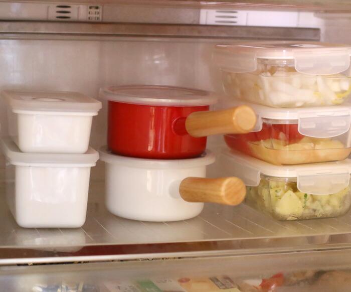 富士ホーロー,ホーロー鍋,ミニソースパン,ミルクパン,フタ付き,片手鍋,冷蔵庫で保存