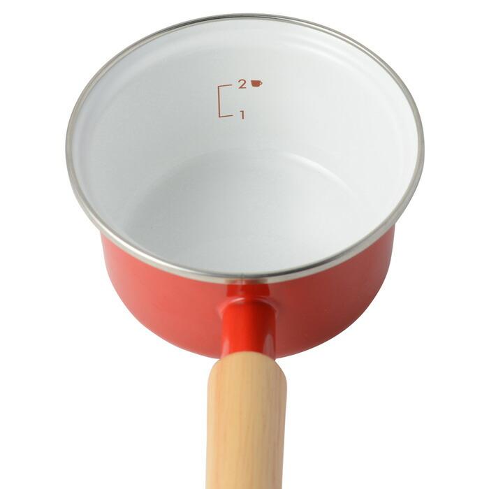 富士ホーロー,ホーロー鍋,ミニソースパン,ミルクパン,フタ付き,片手鍋,目安目盛り