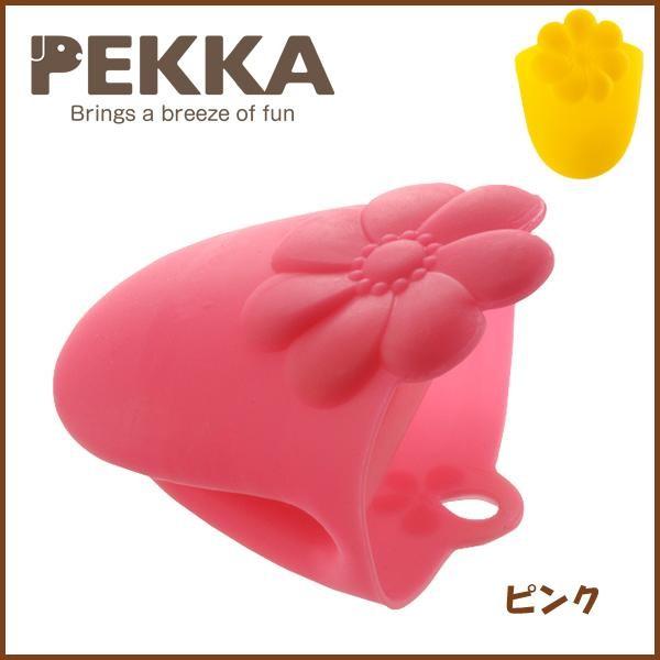 【ペッカ】お花のハーフミトン/ピンク