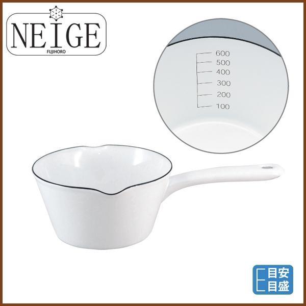【NEIGE】ホーローミルクパン14cm(0.8L)/富士ホーロー/ホワイト/片手鍋/ホーロー鍋/琺瑯鍋