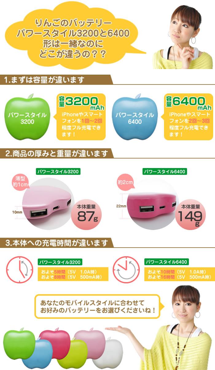 りんごの形のかわいいモバイル 充電 バッテリー パワースタイル3200 6400 比較