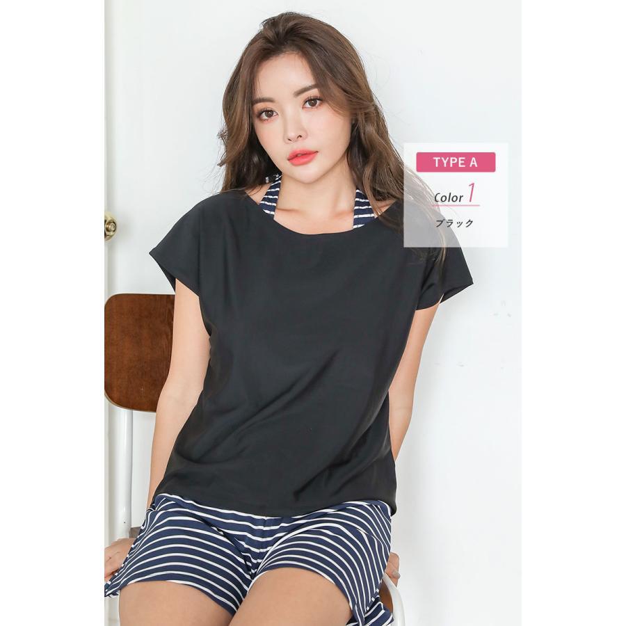 水着 レディース 体型カバー オトナ女子 ラッシュガード オーバーTシャツ Tシャツ 紫外線対策 日焼け対策 UVカット UPF50+ 白 黒|cotaron-shop|22
