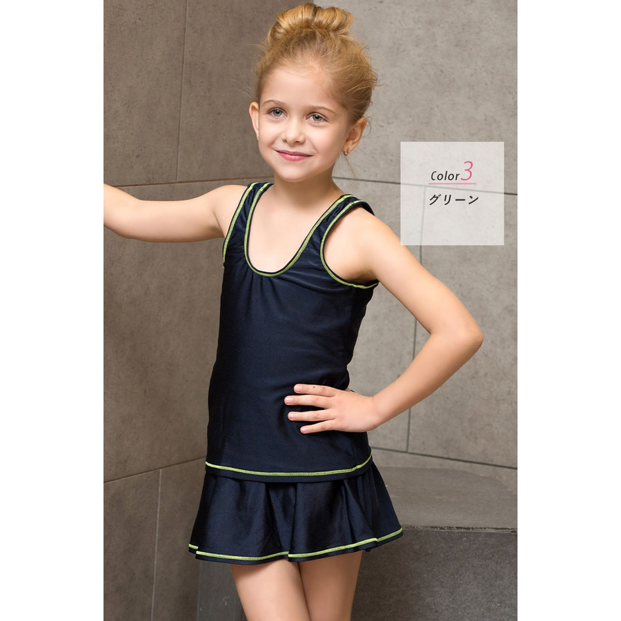 スクール水着 女の子 セパレート スカート インナー付き 2点セット 110cm 120cm 130cm 140cm 150cm 160cm 170cm|cotaron-shop|24