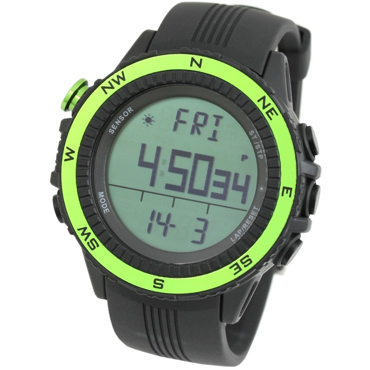 腕時計 メンズ デジタル 時計 温度計 コンパス 気圧計 高度計 アウトドア キャンプ 登山用 courage 10