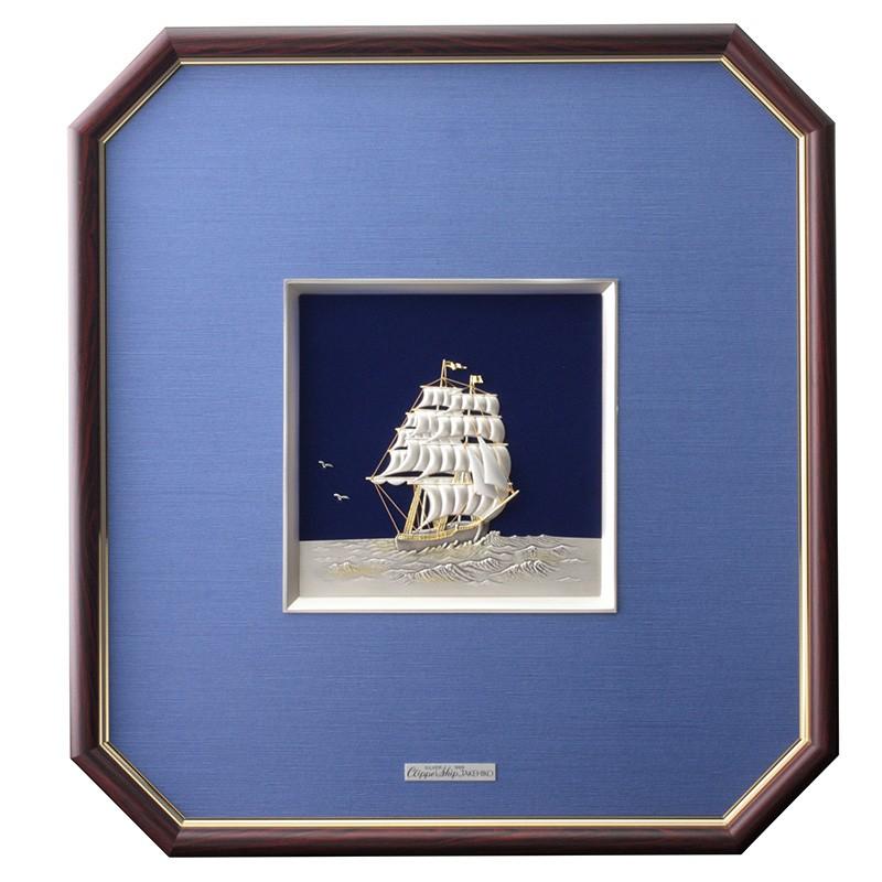 新築 引越し内祝いにTAKEHIKO純銀額 帆船
