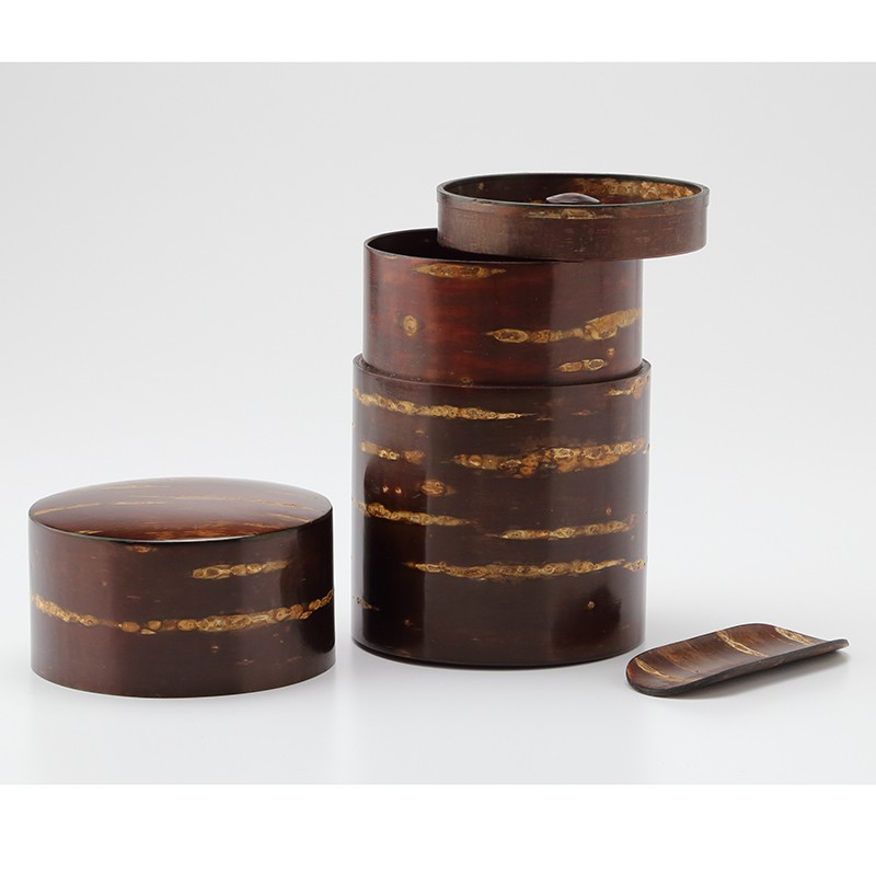退職記念品に樺細工の茶筒