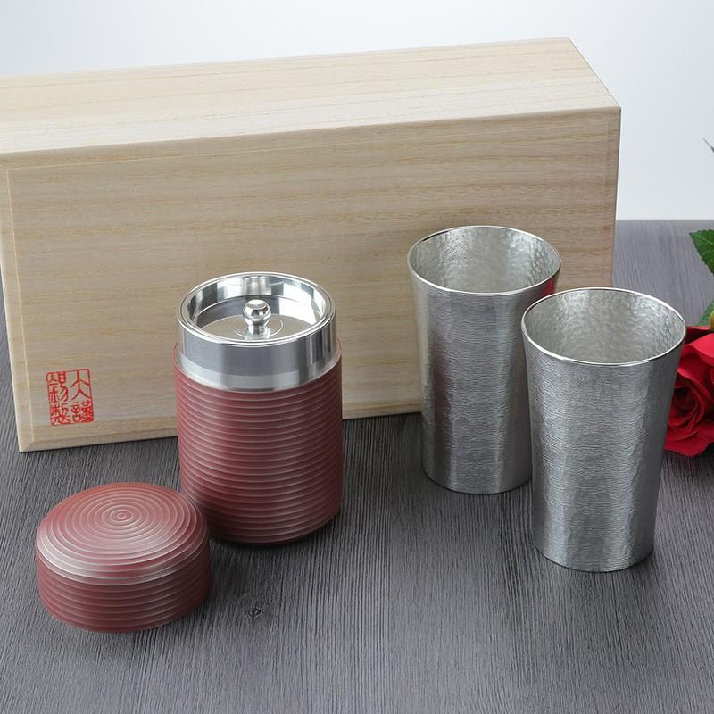 退職記念品に錫製シルキータンブラーと錫製茶壺セット