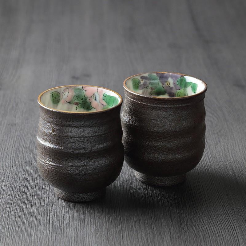 退職記念品に九谷焼組湯呑色絵椿
