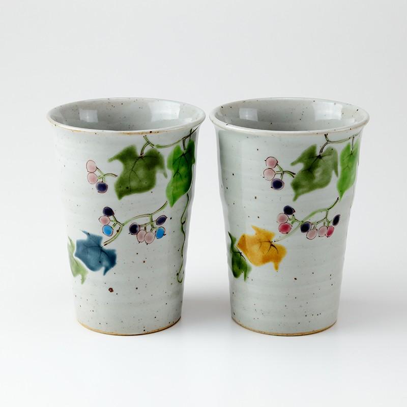 結婚祝いに九谷焼 ペアフリーカップ野ぶどう