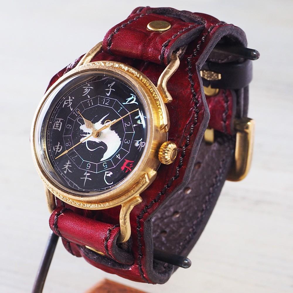 達磨(だるま) 手創り腕時計「赤龍」 螺鈿(らでん)文字盤 Wストラップベルト[DW0002-07]