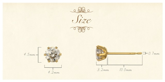 K18 diamond pierced earrings float 0.5ct