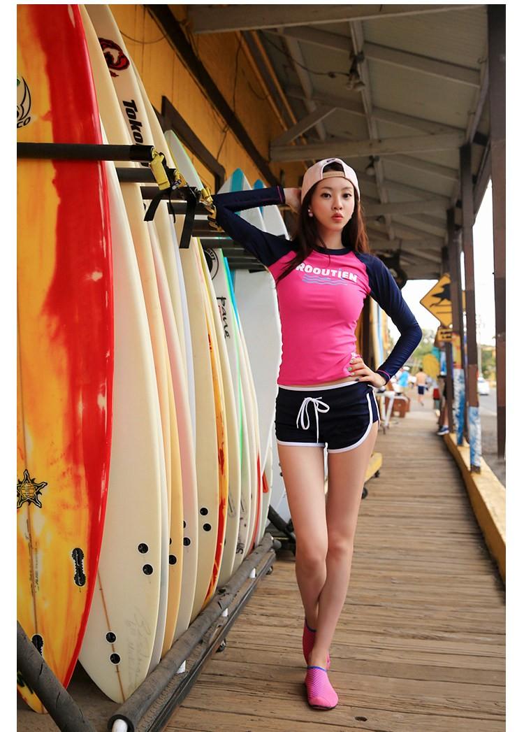 スイムウェア・水着・海・プール・ラッシュガード・体型カバー・セパレート・ツーピース・ビビットピンク・ショートパンツ