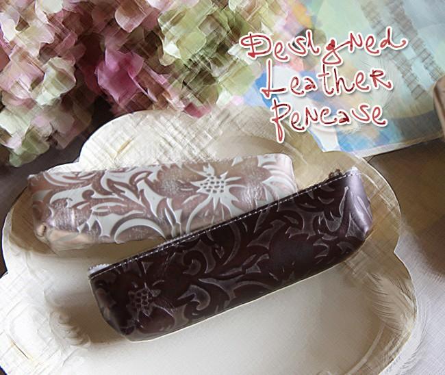 フルール・ペンケース・箔・型押しレザー・革製・筆箱・エトワール・クロコ・星・花柄