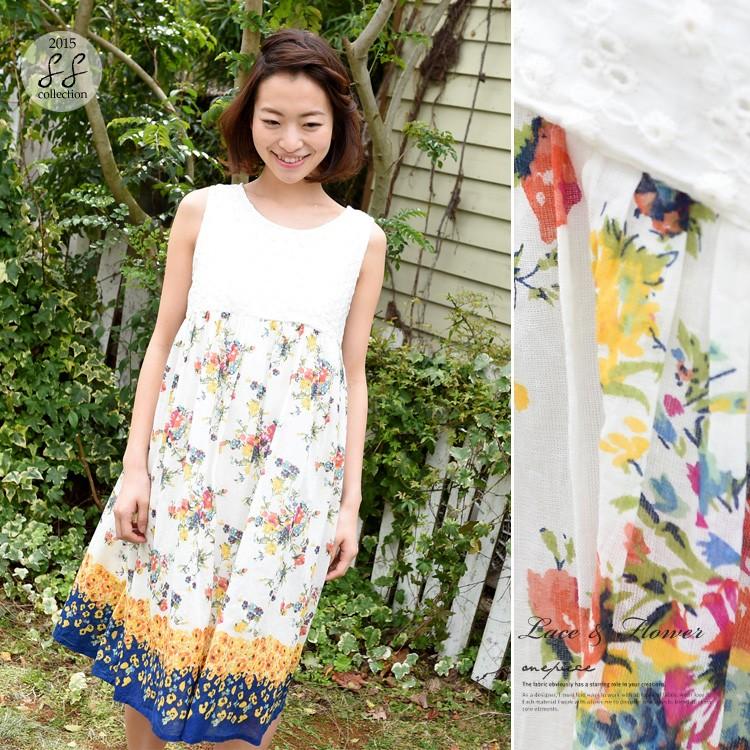 コットン100%の刺繍×パネル花柄プリントワンピ
