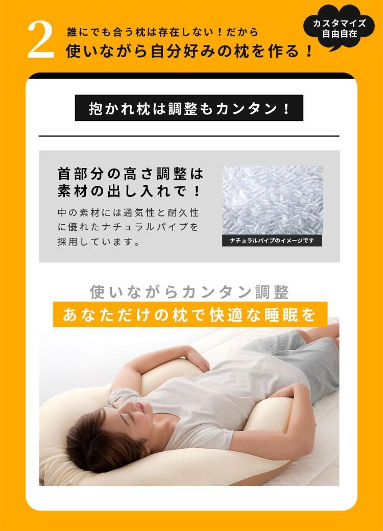 2 誰にでも合う枕を存在しない!だから使いながら自分好みの枕を作る! カスタマイズ自由自在 抱かれ枕は調整もカンタン! 中材も綿ですので使用感はそのまま!