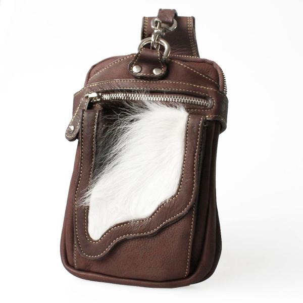 『令和セール対象』ヒップバッグ レザー 牛毛皮 ハラコ ウエストバッグ 長財布入れ 脚用ベルト付き