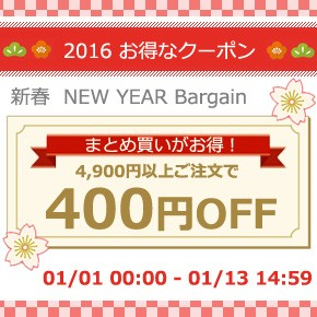 4900円以上で400円オフ!新春ニューイヤーバーゲン特別クーポン♪