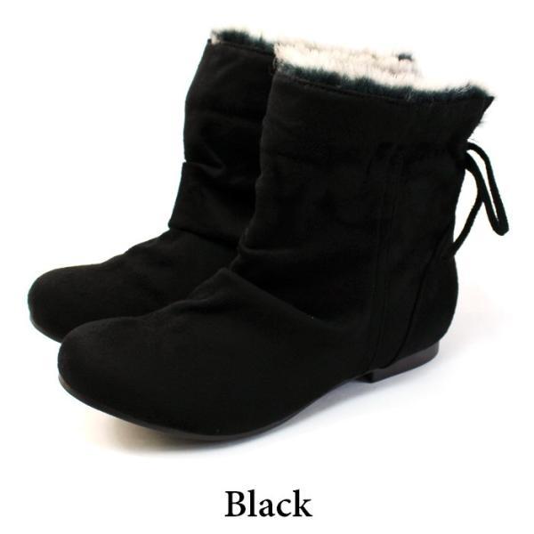 ブーツ ショートブーツ レディース 黒 低反発 大きいサイズ ファー りぼん ヒール ローヒール 特価の為返品交換不可 / 74-63ys412|decorate|18