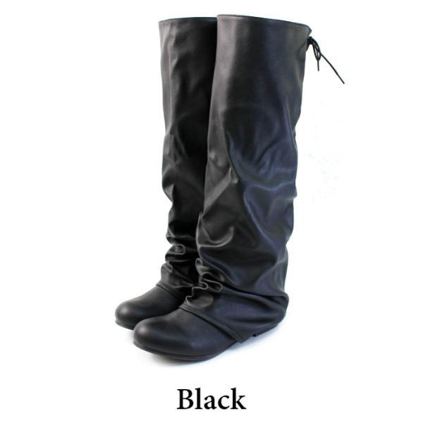 送料無料 ブーツ レディース 黒 低反発 ヒール ナウシカブーツ ローヒール ロングブーツ / 74-64ys433 decorate 16