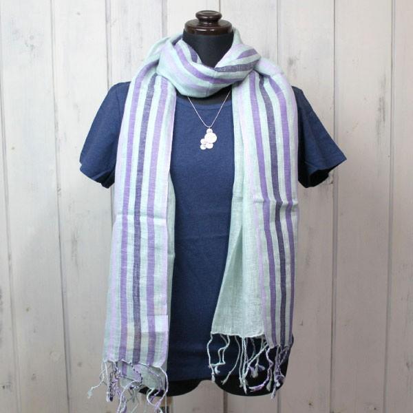 ストール ショール(リネン100%・ストライプストール)スカーフ 麻100% スカーフ UV 紫外線対策(メール便可)|decoya2|08