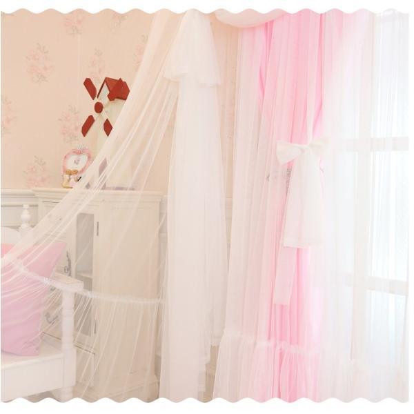 カーテン 遮光 姫 一体型カーテン おしゃれ レース 北欧 安い レース付き 片開き2枚組 可愛い ピンク 幅60〜100cm丈60〜100cm demode2017 15