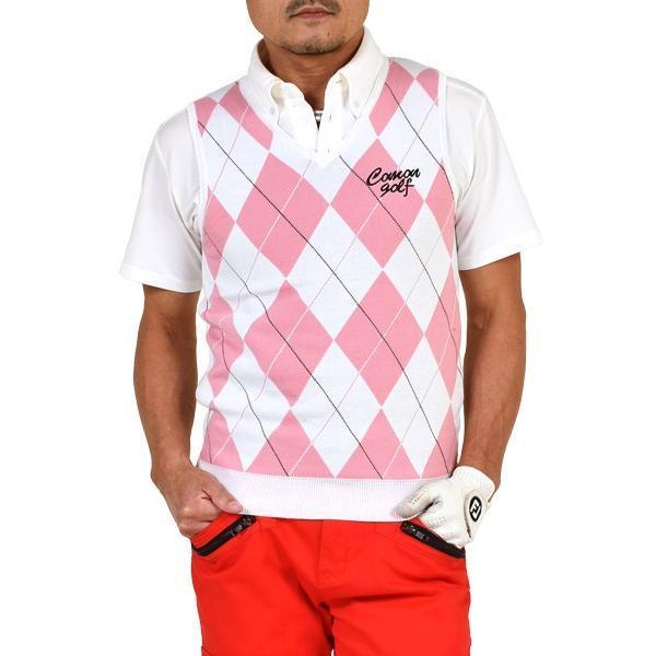 36c8ecba9bb37 SALE ゴルフウェア メンズ ベスト Vネック アーガイル柄 ゴルフトップス トップス おしゃれ 春 夏 春