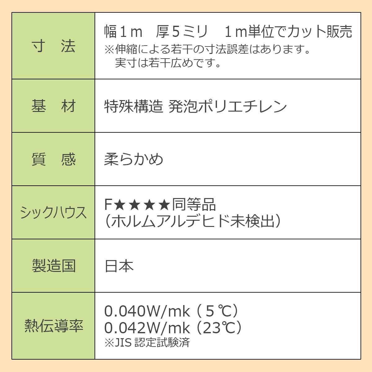 寸法…幅1ミリ 厚5ミリ 1メートル単位でカット販売 ※伸縮による若干の寸法誤差はあります。実寸は若干広めです。 基材…特殊構造 発泡ポリエチレン 質感…柔らかめ シックハウス…Fフォースター同等品(ホルムアルデヒド未検出) 製造国…日本 熱伝導率…0.040W/mk(5℃) 0.042W/mk(23℃) ※JIS認定試験済