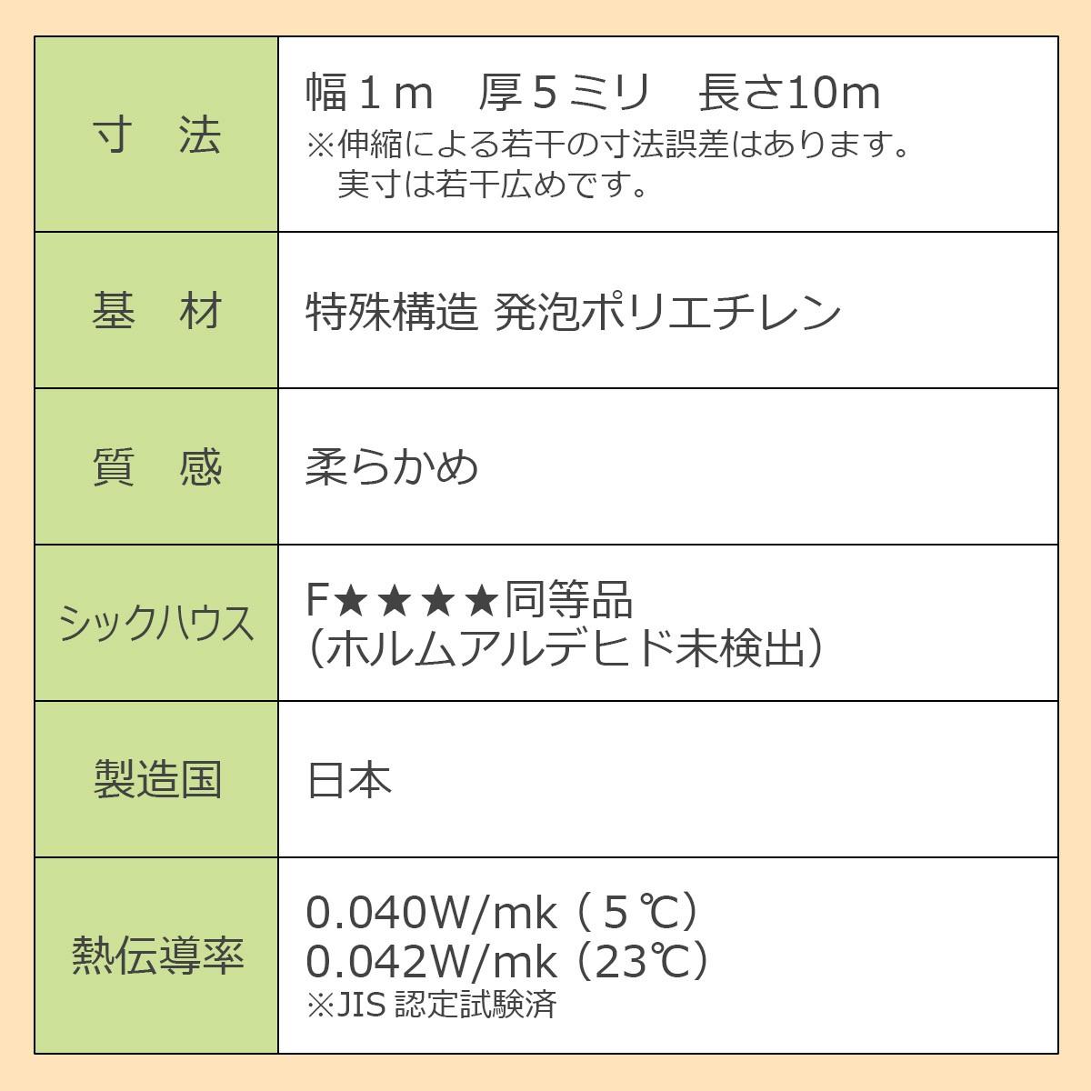 寸法…幅1ミリ 厚5ミリ 長さ10メートル ※伸縮による若干の寸法誤差はあります。実寸は若干広めです。 基材…特殊構造 発泡ポリエチレン 質感…柔らかめ シックハウス…Fフォースター同等品(ホルムアルデヒド未検出) 製造国…日本 熱伝導率…0.040W/mk(5℃) 0.042W/mk(23℃) ※JIS認定試験済