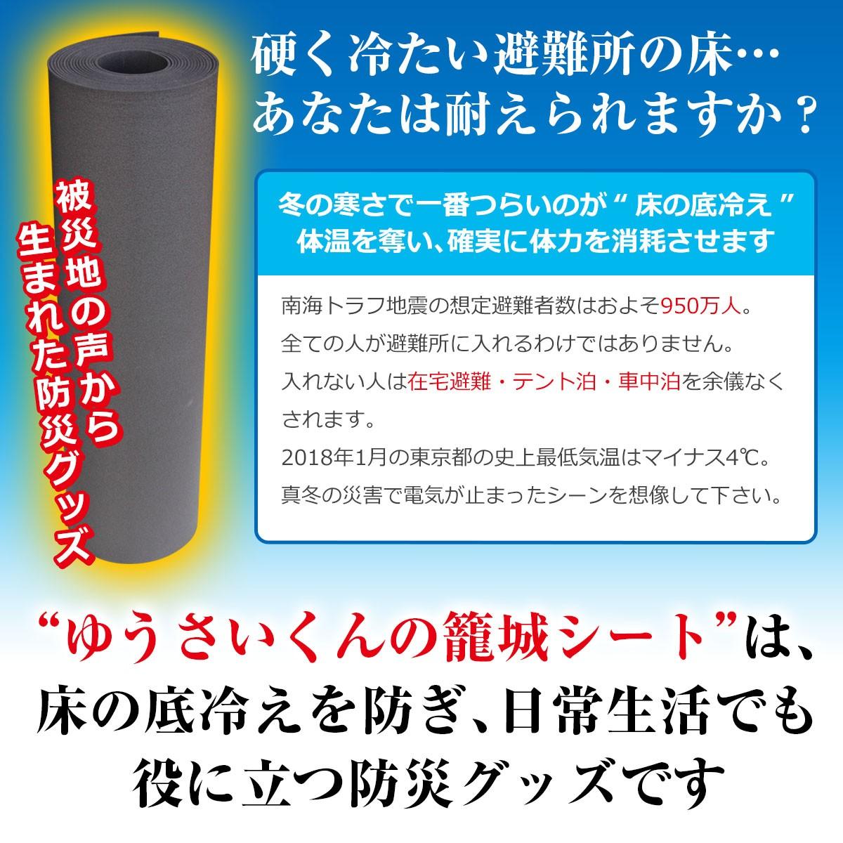 硬く冷たい避難所の床…あなたは耐えられますか?冬の寒さで一番つらいのが床の底冷え 体温を奪い、確実に体力を消耗させます 南海トラフ地震の想定避難者数はおよそ950万人。全ての人が避難所に入れるわけではありません。入れない人は在宅避難・テント泊・車中泊を余儀なくされます。2018年1月の東京都の史上最低気温はマイナス4℃。真冬の災害で電気が止まったシーンを想像してください。ゆうさいくんの籠城シートは床の底冷えを防ぎ、日常生活でも役に立つ防災グッズです