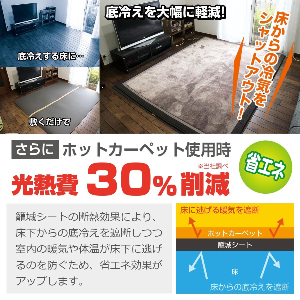 底冷えする床に敷くだけで底冷えを大幅に軽減 床からの冷気をシャットアウト!さらにホットカーペット使用時光熱費30%削減(当社調べ) 籠城シートの断熱効果により、床下からの底冷えを遮断しつつ室内の暖気や体温が床下に逃げるのを防ぐため、省エネ効果がアップします。