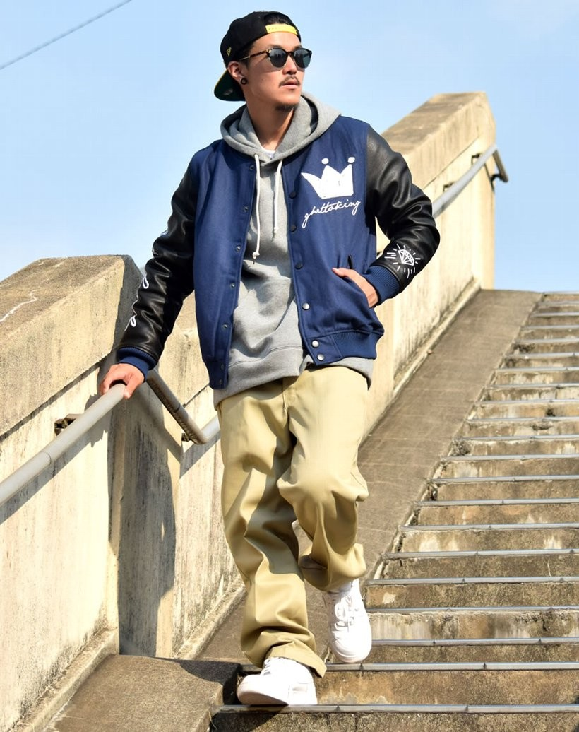 DOP ディーオーピー スタジャン スタジアムジャンパー メルトンジャケット PUレザー 411雑誌掲載 アウター ストリート系 B系 ファッション