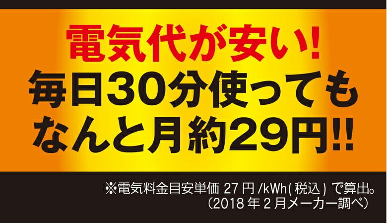 電気代が安い!毎日30分使ってもなんと月約29円!!※電気料金目安単価 27円/kWh(税込)で算出。(2018年2月メーカー調べ)