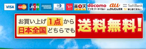 各種クレジットカードOK。ドンキーコングヤフー店は、お買い上げ1点から日本全国どちらでも送料無料