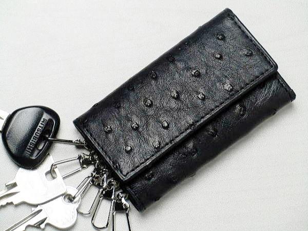 e7e72ec2ed15 本革 オーストリッチ キーケース 一枚革 ブラック キーホルダー 黒 ...
