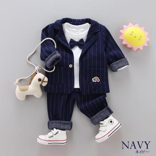 男の子 フォーマル ベビースーツ ストライプ スーツ 子供服 ベビー服 紳士風 フォーマル 赤ちゃん 子供 男の子|dreamkikaku|09