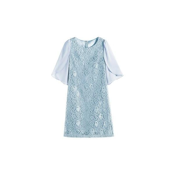 結婚式 ドレス ワンピースパーティードレス 薄手 大きいサイズ ドレス お呼ばれ 半袖 膝丈 フォーマル フリル袖 レース 花柄|dressstar|29