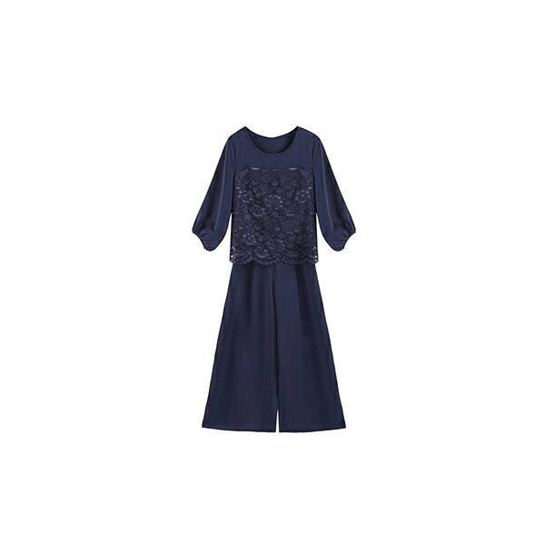 卒業式 卒園式 パンツドレス 結婚式 袖あり 大きいサイズ レース レディース ワイド パーティー ドレス セットアップ|dressstar|21