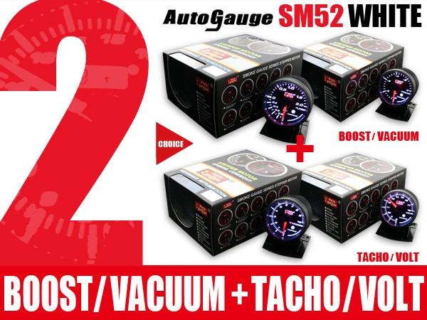 オートゲージ 2点セット ブースト/バキューム計+タコメーター/電圧計 SM60Φ ホワイトLED