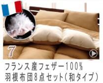 フランス産フェザー100%羽根布団8点セット【和タイプ】
