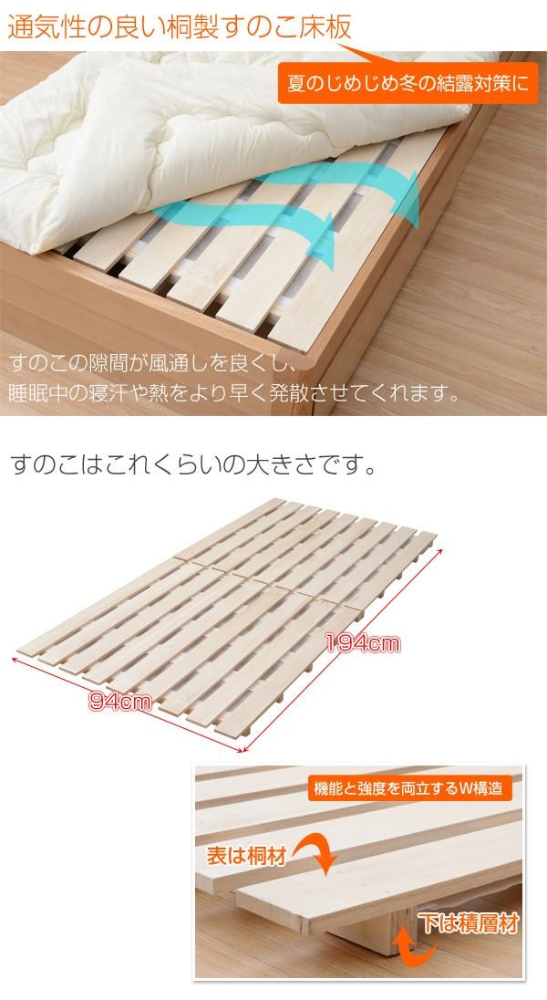 通気性の良い桐製すのこ床板
